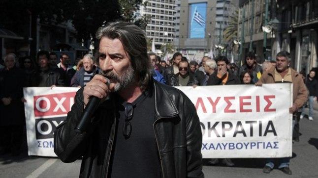 KREEKA TÖÖRABAJAD MEELEAVALDUSEL: Kärbete vastu marsivad  terasefirma Hellenic Halyvourgia töötajaid.