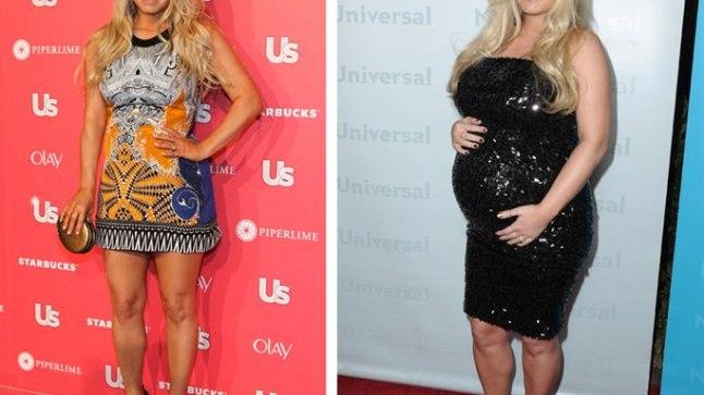 (Vasakul) SIRE SIREEN: Jessica Simpson 2011. aasta kevadel. (Paremal) KUKLIKE: Jessica paisus rasedana tohutuks ega ilmuta praegugi kahanemismärke.