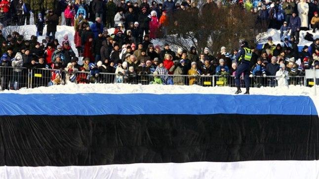 Rahvas Tallinnas Vabaduse väljakul vabariigi aastapäeva sõjaväeparaadi eel 2011. aastal.
