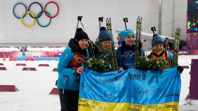 Ukraina võidukas laskesuusanaiskond.