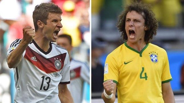 KIRGLIK DUELL: Thomas Müller ja David Luiz hoolitsevad platsil peale kõige muu ka meeskonna emotsionaalse heaolu ees. Häälepaelad on mõlemal igatahes korraliku  treenitusega.