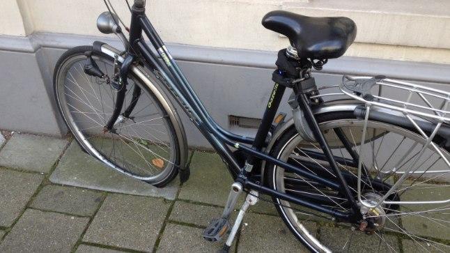 Näide, mil geniaalsel viisil Haagis jalgratta parkimine omanikule lihtsamaks on muudetud – maja ääres on spetsiaalse esiratta süvisega ääreplaadid, kuhu kaherattalise seisma saab susata.