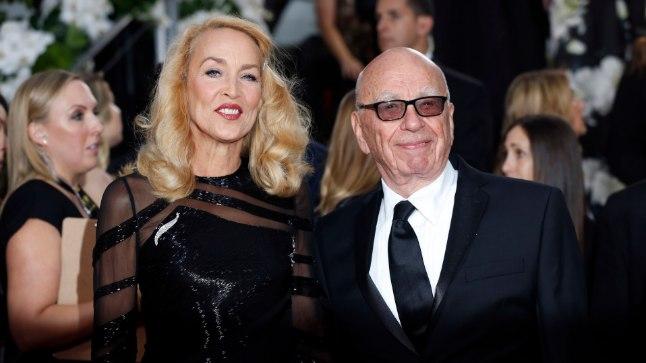 Jerry Hall ja Rupert Murdoch Kuldkloobuste jagamise galal