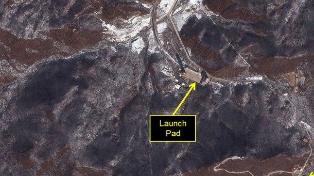 Satelliidipilt, mis näitab USA hinnangul Põhja-Korea kosmoseraketi väljatulistamise kavatsust.