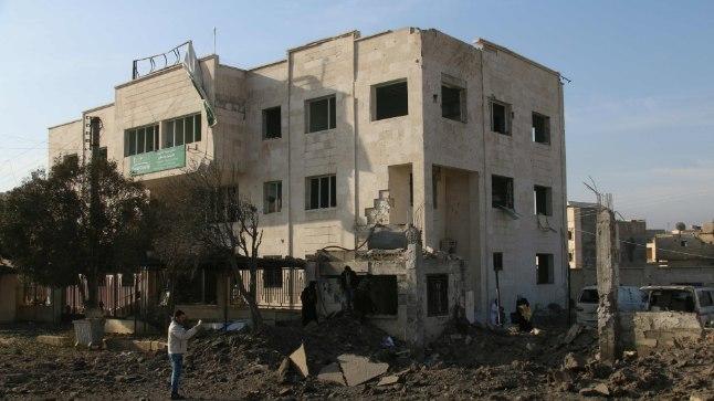 Süürias Azazis asuv haigla pärast õhurünnakut 15. veebruaril 2016.
