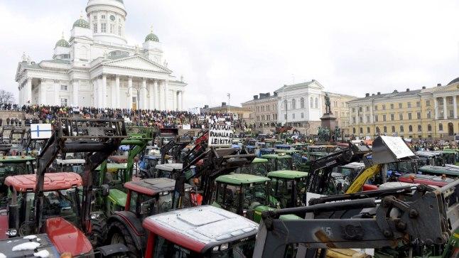 Soome põllumeeste meeleavaldus Helsingis 11. märtsil 2016.