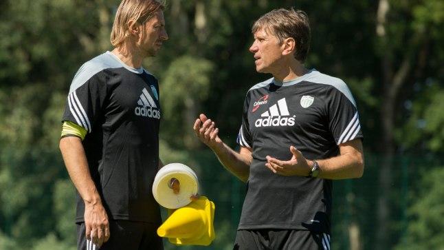FC Levadia abitreener Sergei Pareiko ja peatreener Igor Prins.