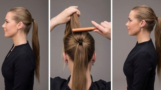"""1) Enne: peenike hobusesaba.    2) Tee nii: Pane juuksed hobusesabasse. Eralda pats kahte ossa (ülemine ja alumine). Kinnita patsi keskele """"lõviklamber"""". Tupeeri ja kohenda.  3) Valmis! Paksem pats on ilusam!"""