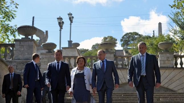 Venemaa president Vladimir Putin, peaminister Medvedev 15. septembril Krimmis.