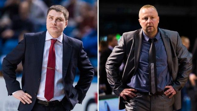 BC Kalev/Cramo ja Rapla Avis Utilitase peatreenerid Alar Varrak (vasakul) ja Aivar Kuusmaa.