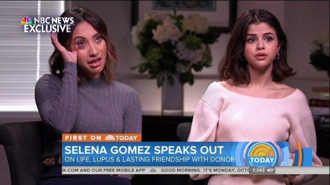 """EMOTSIONAALNE INTERVJUU: Selena Gomez ja Francia Raisa rääkisid esimest korda oma ühisest katsumusest NBC telesaates """"Today"""". Sõbrannad tunnistasid, et neerusiirdamine muutis nende mõlema elu."""