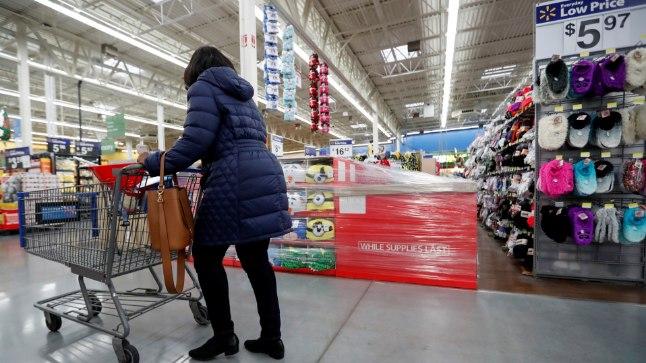 Ameerika supermarket. Pilt on illustreeriv.