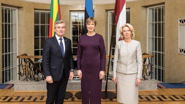 Ināra Mūrniece, Kersti Kaljulaid ja Viktoras Pranckietis.