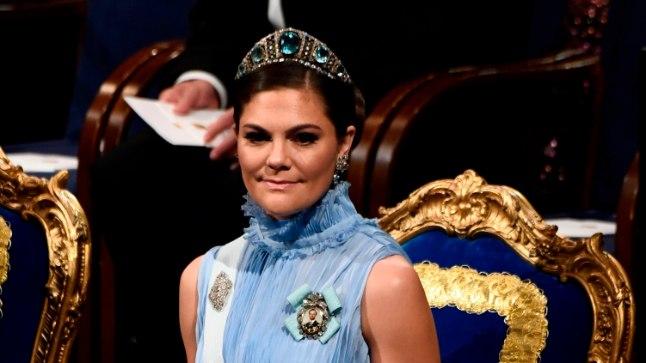 Rootsi kroonprintsess Victoria 10. detsembril Nobeli auhinna tseremoonial Stockholmi kontserdimajas.