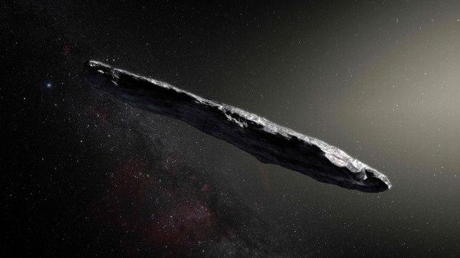 KAUGE SÕNUMITOOJA: Asteroid Oumuamua (pildil on kunstniku nägemus) saabus meie Päiksesüsteemi tähtedevahelisest ruumist.