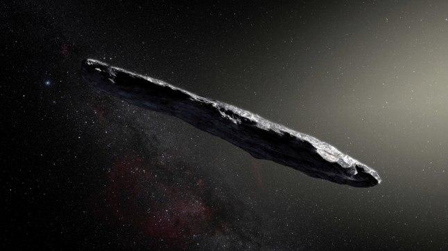 KAUGE KÜLALINE: Asteroid Oumuamua kunstniku nägemuses.