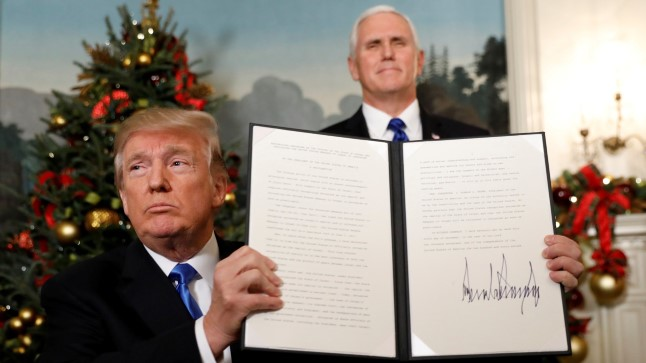 Allkiri olemas: USA tunnustab Jeruusalemma Iisraeli pealinnana.