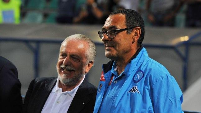 Napoli president Aurelio De Laurentiis ja peatreener Maurizio Sarri.