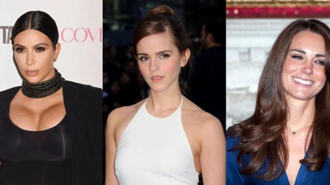 USA meeste ihalusobjekt nr 1 Kim Kardashian ning brittide lemmikud nr 2 ja 1: Emma Watson ja Kate Middleton.