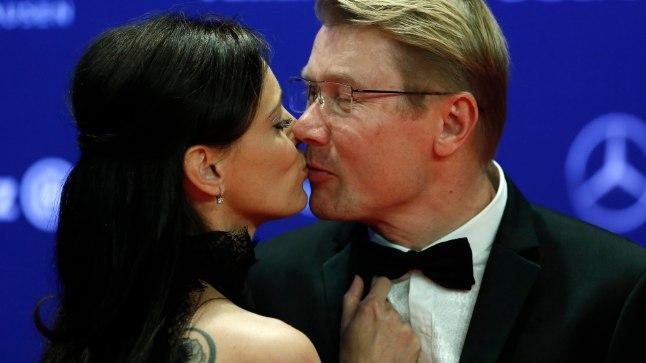 Mika Häkkinen koos kaaslannaga eelmise aasta Laureuse galal.
