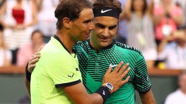 Roger Federer (paremal) ja Rafael Nadal.