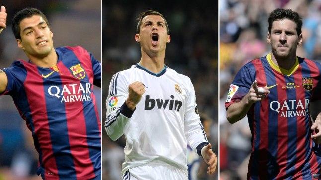 Luis Suarez, Cristiano Ronaldo ja Lionel Messi.