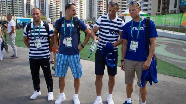 Paarisaerulise neljapaadi mehed Rio de Janeiros. Vasakult: Andrei Jämsä, Allar Raja, Tõnu Endrekson ja Kaspar Taimsoo.