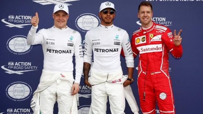 Austraalia GP kvalifikatsiooni kolm kiiremat (vasakult paremale): Valtteri Bottas, Lewis Hamilton, Fernando Alonso