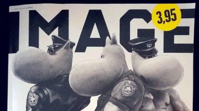 MUUMID KAPIST VÄLJAS: Ajakirja Image kaanekujunduses on ühendatud soomlaste kaks kultuuriikooni – muumitroll ja Tom of Finlandi nahkpükstega geimees.