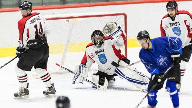 Narva PSK väravavaht Daniil Seppenen tõrjus viimases finaalmängus 43 HC Vikingi pealeviset.