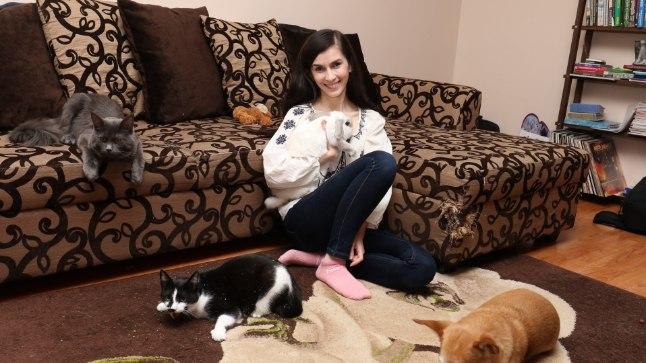 LOOMASÕBER: Ka kodus elab Hellika loomade keskel. Kõik tema loomad on võetud kas varjupaigast või päästetud tänavalt. Pildilt on puudu veel üks kass.