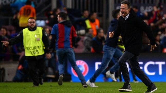 Barcelona peatreener Luis Enrique võidujoovastuses