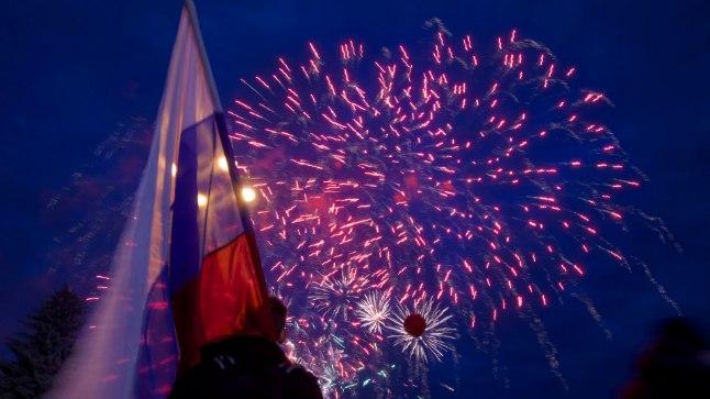 PIDUSTUSED: 18. märtsil tähistasid Krimmi ja Venemaa elanikud Krimmi annekteerimist.   (AP Photo/Ivan Sekretarev)