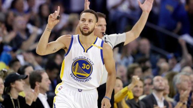NBA põhihooaja parima võitude-kaotustega meeskonna Golden State Warriorsi mängujuht Stephen Curry.