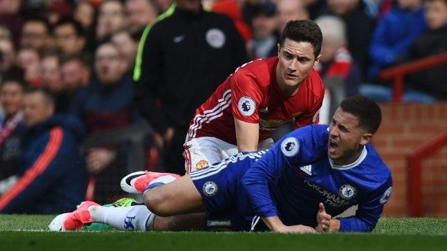SELJAVÕIT! Manchester United mängis Londoni Chelsea kindlalt üle ja võitis 2:0, mis muutis tiitlivõitluse taas põnevaks. Fotol Ander Herrera (punases) ja Eden Hazard.