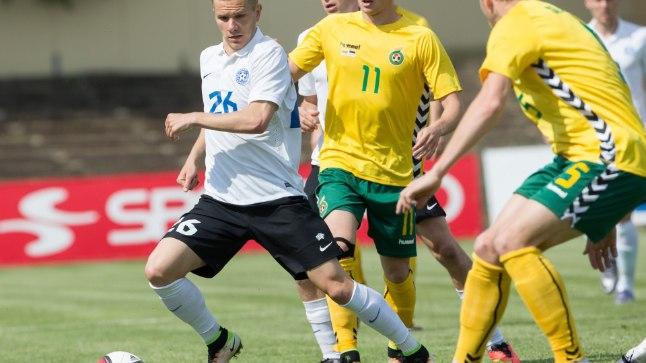 Markus Jürgenson Eesti koondise särgis Leedu vastu.