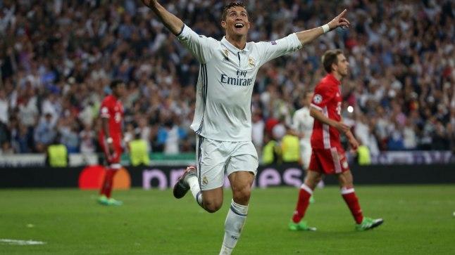 Cristiano Ronaldo väravat tähistamas.