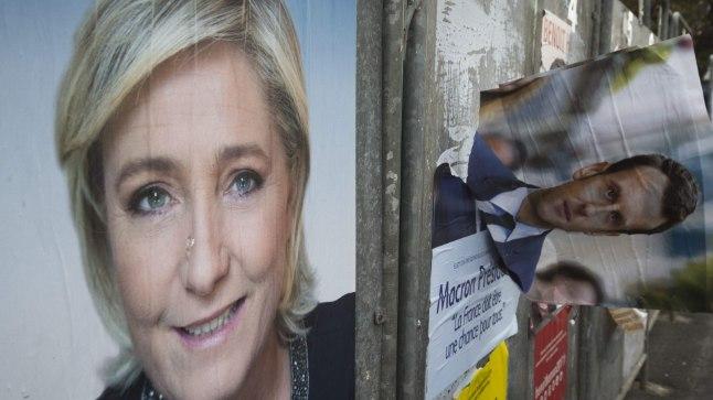 Plakatid prantsuse presidendivalimiste favoriitidest Marine Le Penist ja Emmanuel Macronist.