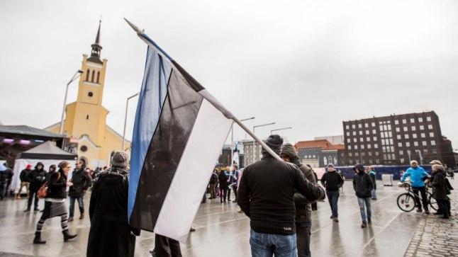 Rail Balticu üldrahvalik meeleavaldus Tallinnas aprillikuus.