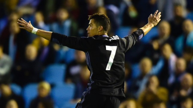 Cristiano Ronaldo tähistamas teist väravat Vigo Celta vastu.