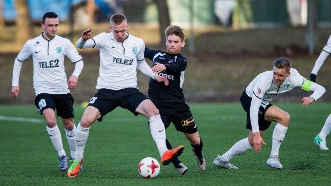 Florakad Maksim Gussev, Mihkel Ainsalu ja Brent Lepistu aprillis toimunud kohtumises Infonetiga. Just Lepistu värav tõi selles mängus võidu Florale.