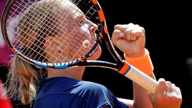 Anett Kontaveit võib Rooma turniiriga kokkuvõttes rahule jääda, sel pildil on ta pärast maailma esireketi Angelique Kerberi üle saadud võitu.