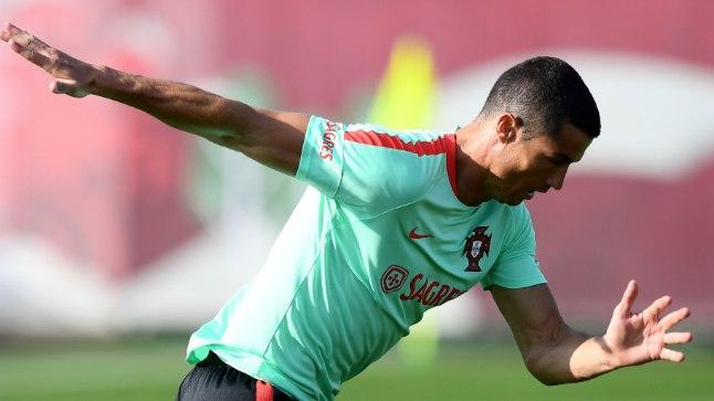 Cristiano Ronaldo Portugali koondise treeningul.