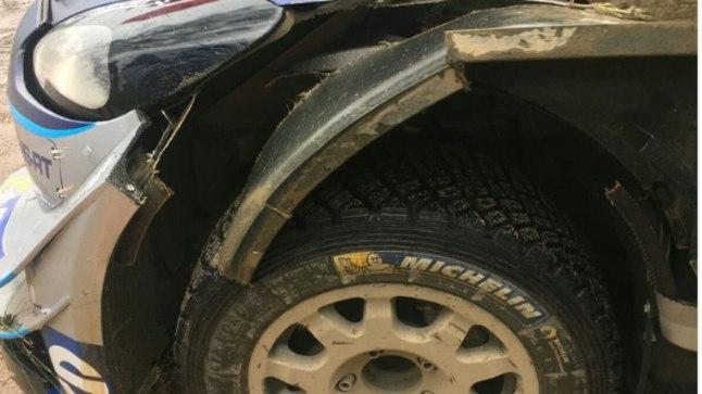 Ott Tänaku Ford Fiesta on kannatada saanud.