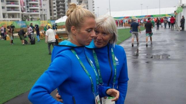 Grit Šadeiko ja treener Anne Mägi.