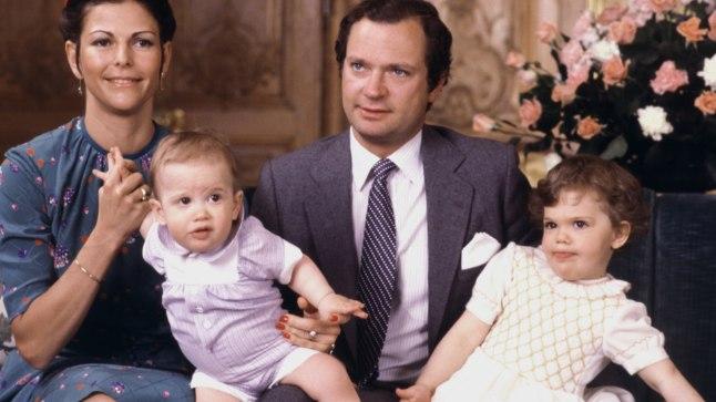 KUNINGLIK LAPSEPÕLV: Kuninganna Silvia, prints Carl Philip, kuningas Carl XVI Gustaf ja printsess Victoria 1980. aastal Carl Philipi 1. sünnipäeva puhul tehtud fotol.