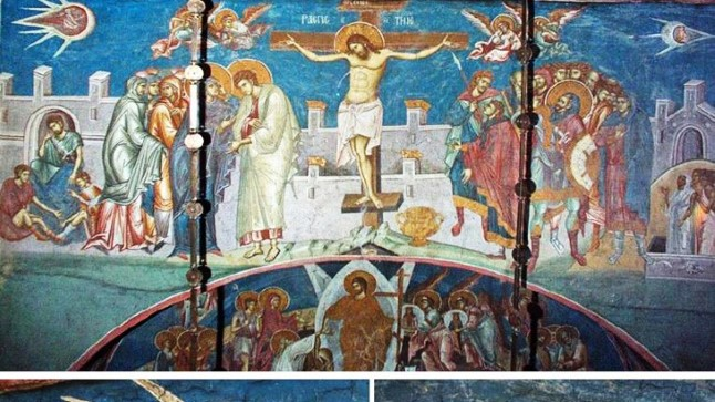 """Фреска """"Распятие"""" (1350 г.). Сербский православный монастырь Высокие Дечаны в Косово, Югославия."""