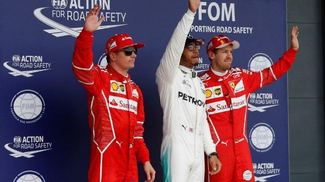 Kimi Räikkönen (vasakult), Lewis Hamilton ja Sebastian Vettel.