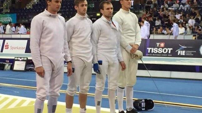 Eesti epeemeeskond (Nikolai Novosjolov, Peeter Turnau, Jüri Salm, Sten Priinits) Leipzigis vehklemise MMil.
