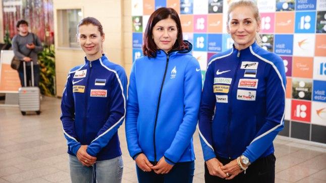 Irina Embrich (vasakult), Julia Beljajeva ning Kristina Kuusk tulid Saksamaal maailmameistriteks. Naiskonna neljas liige Erika Kirpu sõitis Itaaliasse elukaaslase juurde.